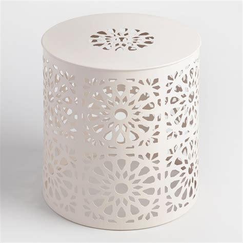 cheap outdoor drum stool white metal soleil drum stool world market