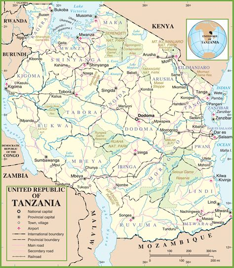 5 themes of geography tanzania tanzania political map