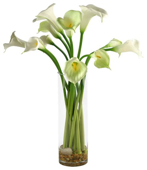 Artificial Flowers Vase by D W Silks Calla Lilies In Glass Vase