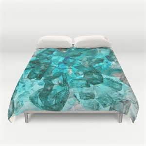 Duvet Cover Turquoise Turquoise Glass Chrystal Abstract Duvet Cover By Judy