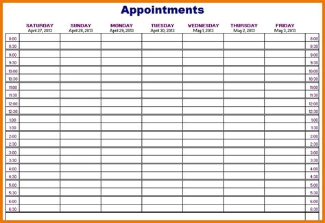 weekly appointment calendar template