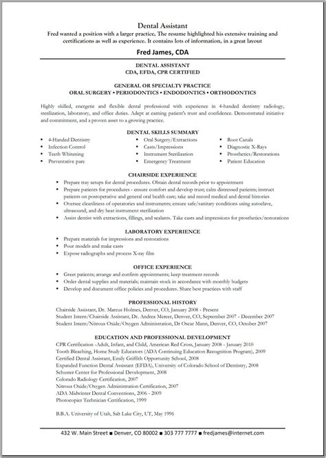 Certified Assistant Resume Sles by Certified Dental Assistant Resume Sales Dental Lewesmr
