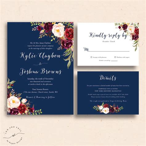 Burgundy And Navy Wedding Invitations navy floral wedding invitations navy wedding invite