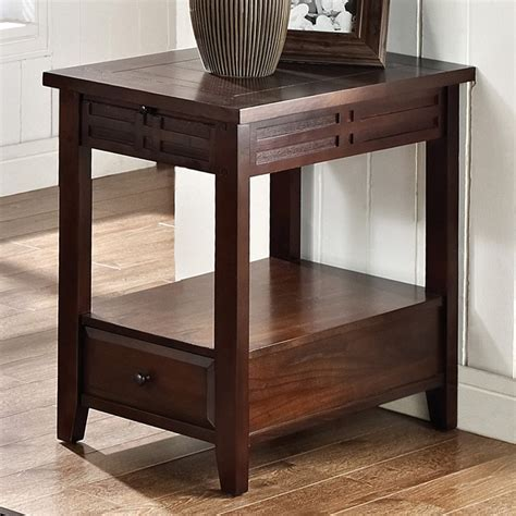 Chairside End Table With Drawer by Crestline Chairside End Table Drawer Distressed Walnut