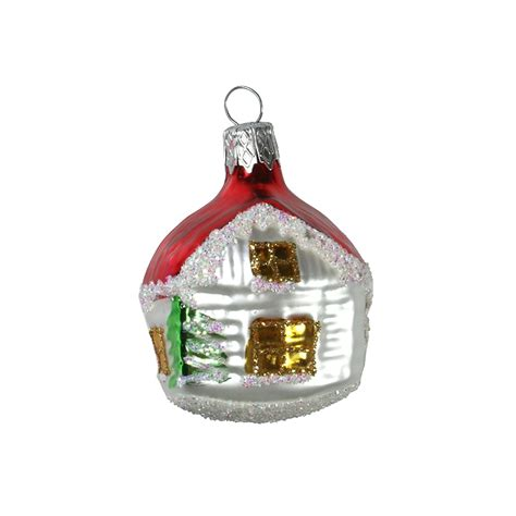 small red roof cottage christmas ornament czech republic