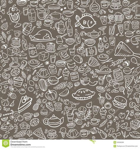 doodle food icons vector doodle food icons seamless background stock vector