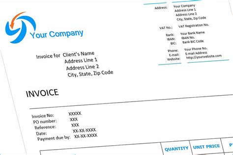 Invoice Example (English). Download free template for Word