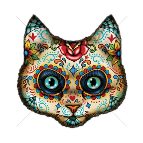 sugar skull face painted day of the dead kitty cat t shirt