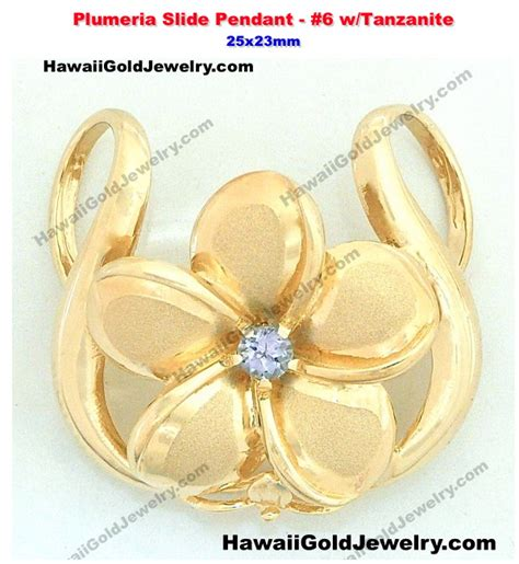 hawaiian plumeria slide pendant 6 w tanzanite 25x23mm