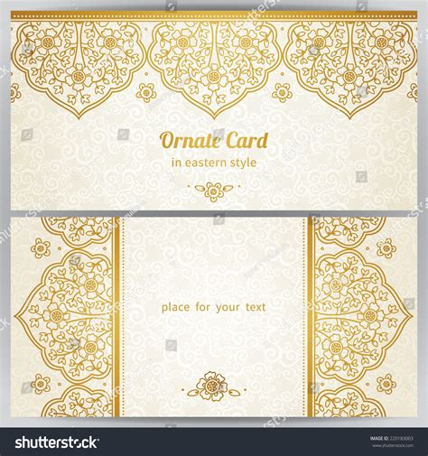 vintage ornate cards style golden stock vector