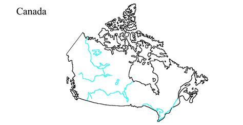 canadian map rivers blank map of canada rivers