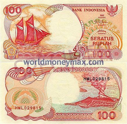 X 100 Original Indonesia worldmoneymax indonesia 100 rupiah 1992 banknote