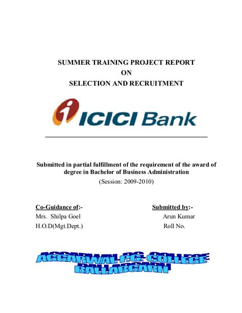 icici bank report selection recruitment icici