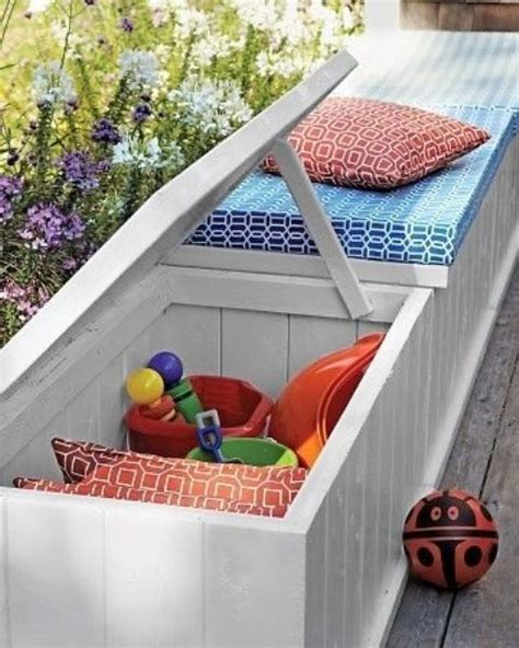 colorful storage bench 20 smart outdoor storage furniture ideas shelterness