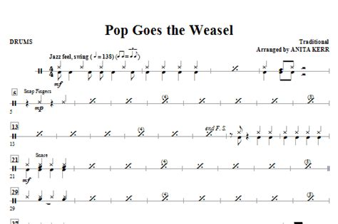 pop goes the weasel 0747220247 pop goes the weasel drums sheet music direct