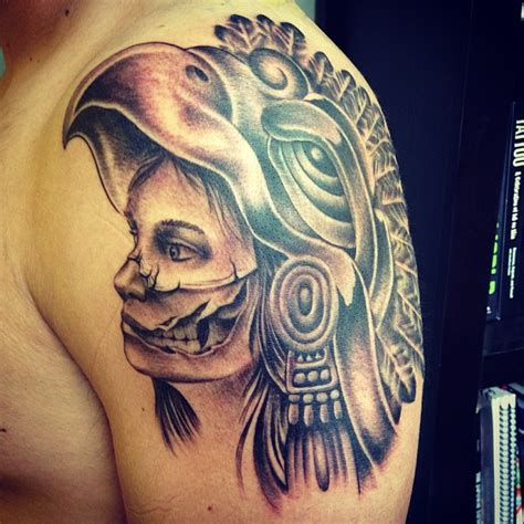 aztec woman tattoo designs aztec skull on shoulder for tattooshunt