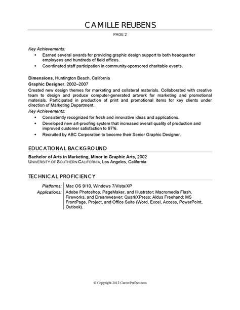Resume Example   Graphic Design   CareerPerfect.com