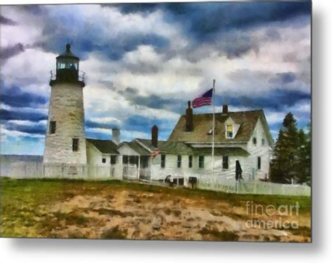 pemaquid point lighthouse home decor metal photo print pemaquid point lighthouse in maine digital art by mary warner