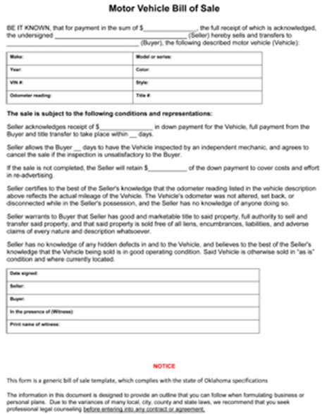 Oklahoma Bill Of Sale Form 8ws Templates Forms Auto Bill Of Sale Oklahoma Template