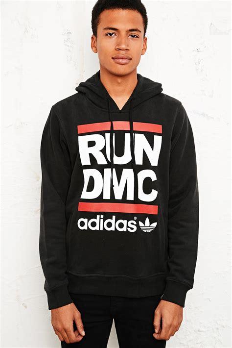 Hoodie Run Dmc Adidas adidas run dmc hoodie in black in black for lyst