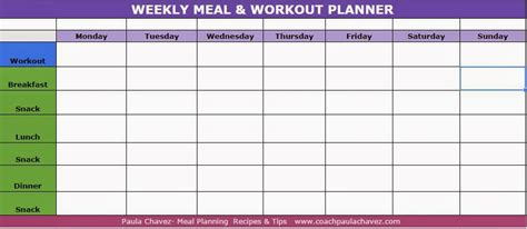 diet calendar template meal planner