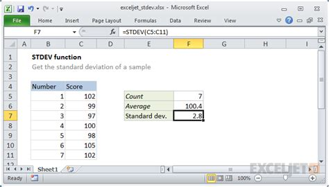 how to use the excel stdev function exceljet