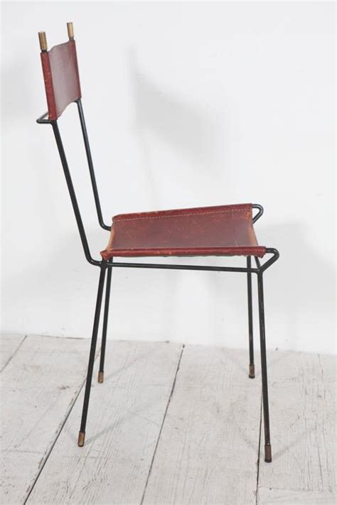 Set Of Four Italian Leather And Metal Dining Chairs With Leather And Metal Dining Chairs