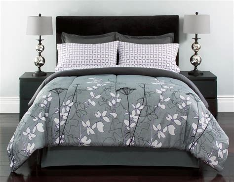 Purple Gray Floral Comforter Set Shelby 8 Pc Floral Bed In A Bag King 102 X 90 Gray Black White Purple New Ebay