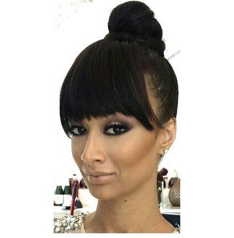 highbun with side bangs draya s bangs with high bun hair pinterest