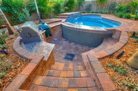 sunken kitchen outdoor living with sunken kitchen tropical pool