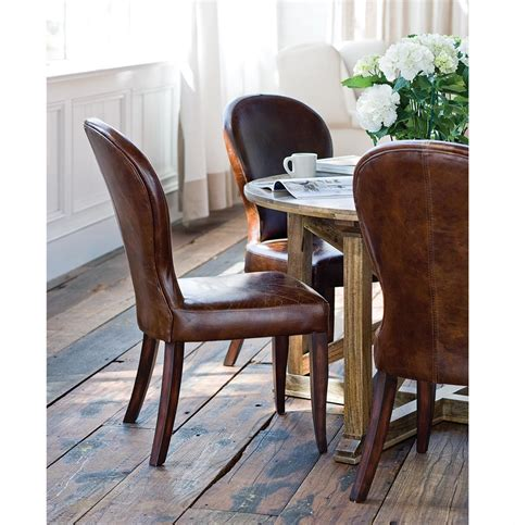 Rustic Leather Dining Room Chairs by Bunyan Rustic Lodge Brown Leather Upholstered Dining Chair