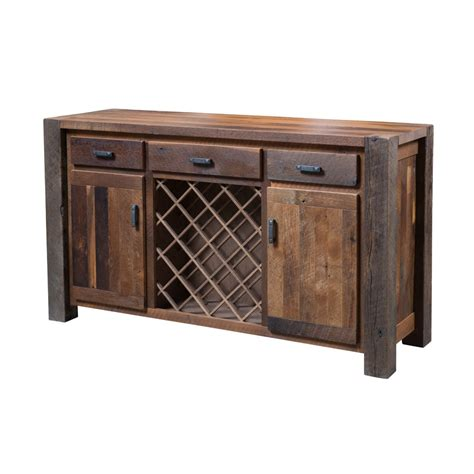 buffet with wine rack barnwood timber ridge buffet wine rack amish crafted