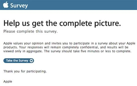 survey invitation email template apple soliciting customer feedback with new pulse