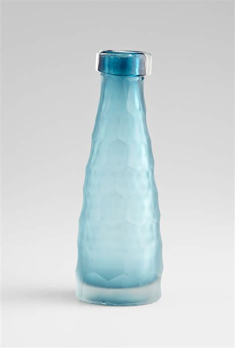 Blue Glass Vase by Small Hummingbird Blue Glass Vase By Cyan Design