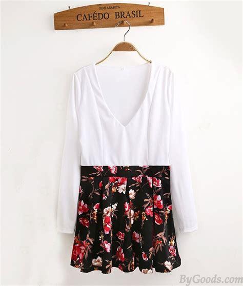 Mini Dress 505 v floral sleeve mini dress fashion