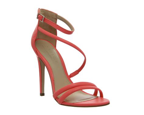 coral sandals womens office strappy sandals fluro coral leather