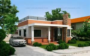 Small House Architecture Styles Rommell One Storey Modern With Roof Deck Eplans