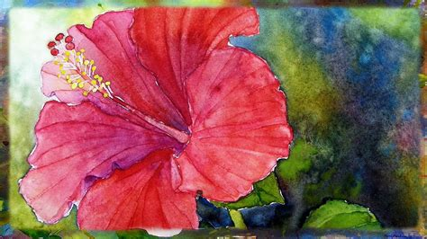 watercolor tutorial flowers youtube how to paint the red hibiscus in watercolor by ross