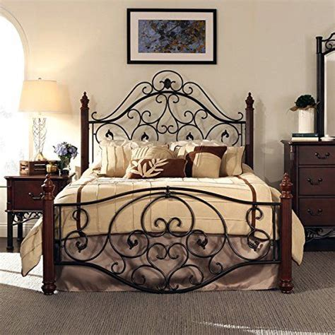 wood and wrought iron bedroom sets amazon com queen size antique style wood metal wrought