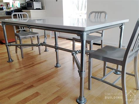 Diy Quartz Dining Table Built With Pipe And Kee Kl Quartz Top Dining Table