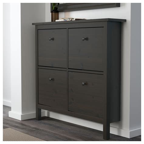 Shoe Cabinet With Doors Ikea Hemnes Shoe Cabinet With 4 Compartments Black Brown 107x101 Cm Ikea