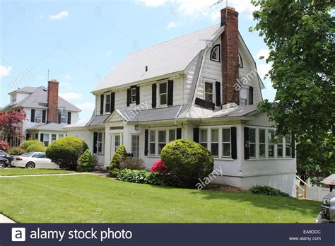 dutch colonial house dutch colonial revival house hollis park gardens queens new york stock photo royalty free