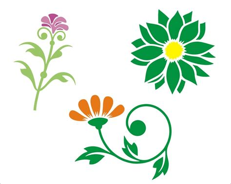 printable stencil designs flowers flower stencils free clipart best