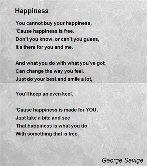 happiness poem by george savige poem comments