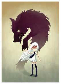 Anime girl and wolf wall sticker decal werewolf by indre bankauskaite