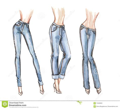 fashion illustration denim blue watercolor illustration stock illustration image 70490920