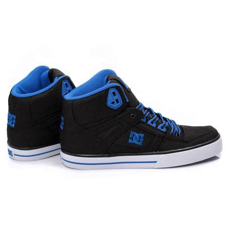 mens dc shoes dc shoes spartan high top black blue mens trainers