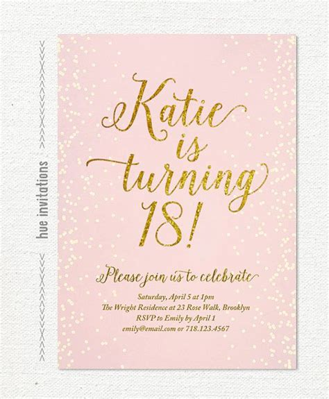 18th invitation templates pink gold glitter 18th birthday invitation for