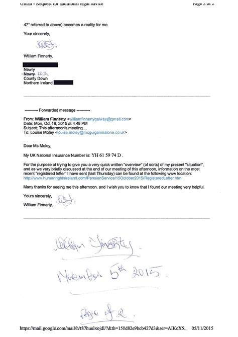 Proof Of Letter Delivery Registered Letter Dated November 5th 2015 To Mcguigan Malone Solicitors