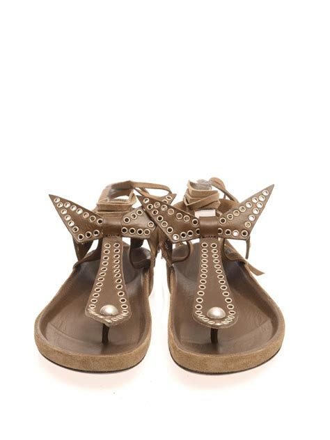marant sandals marant edris studded suede sandals in green lyst